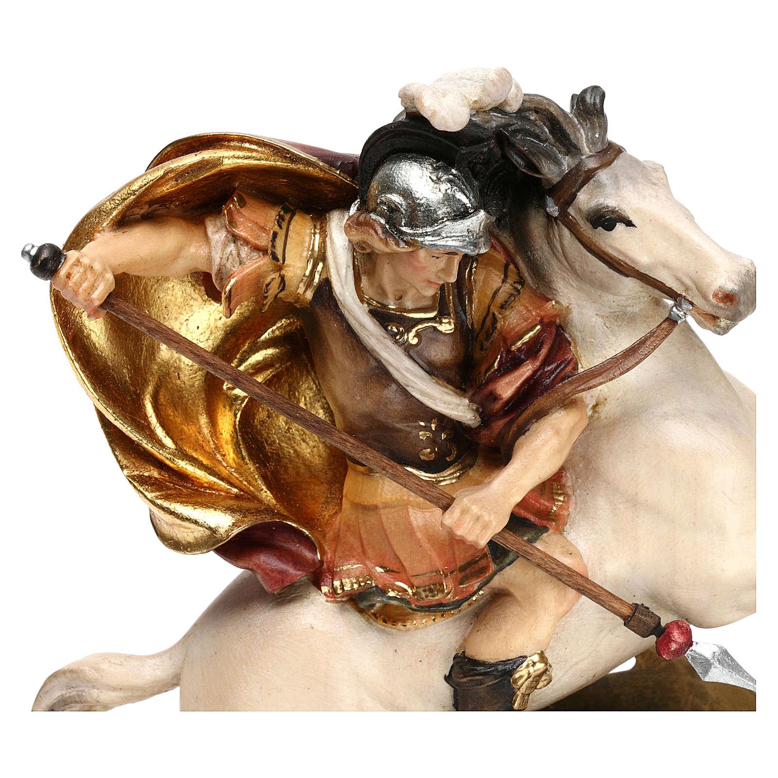 San Giorgio a cavallo con drago legno Valgardena 4