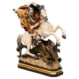 San Giorgio a cavallo con drago legno Valgardena s3