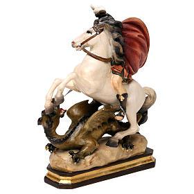 San Giorgio a cavallo con drago legno Valgardena s4