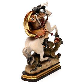 San Giorgio a cavallo con drago legno Valgardena s5