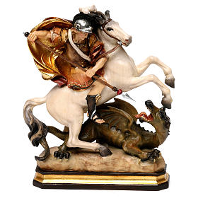 Hand painted wooden statues: St. George with dragon statue, in Valgardena wood