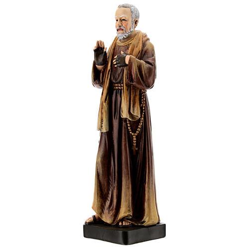 Estatua S. Pio de Pietrelcina madera pintada 20 cm Val Gardena 3