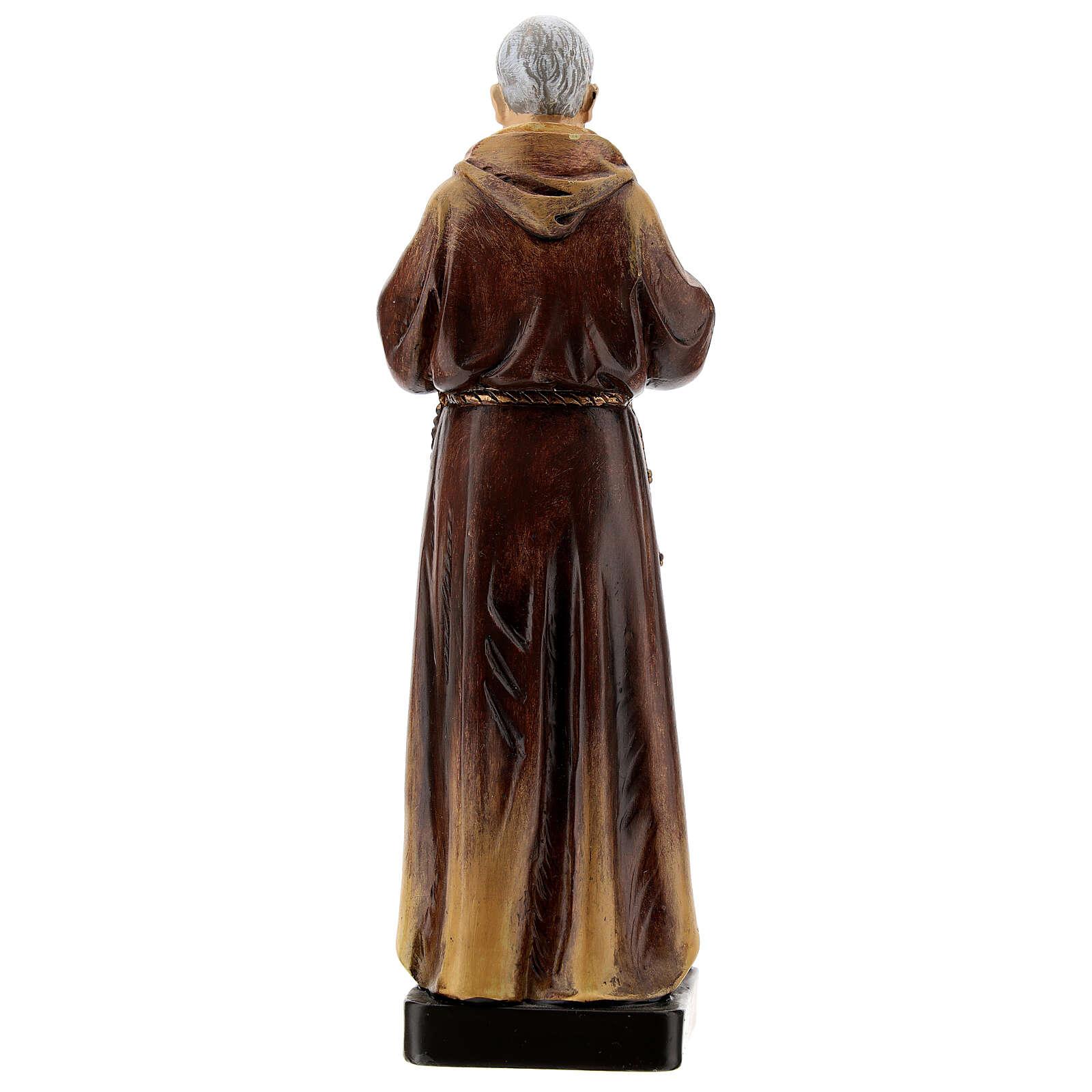Statue Saint Pio de Pietrelcina bois peint 20 cm Val Gardena 4