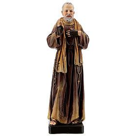Statue Saint Pio de Pietrelcina bois peint 20 cm Val Gardena s1