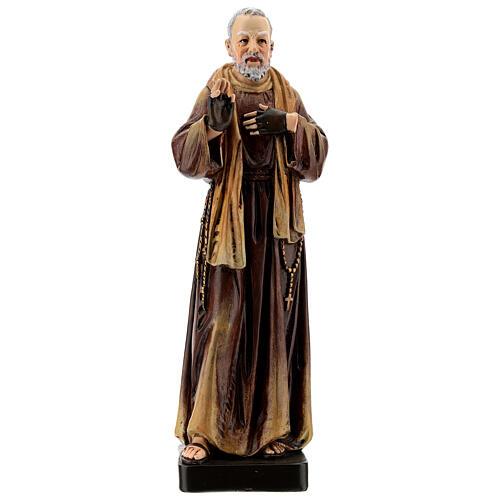 Statua S. Pio di Pietrelcina legno dipinto 20 cm Val Gardena 1