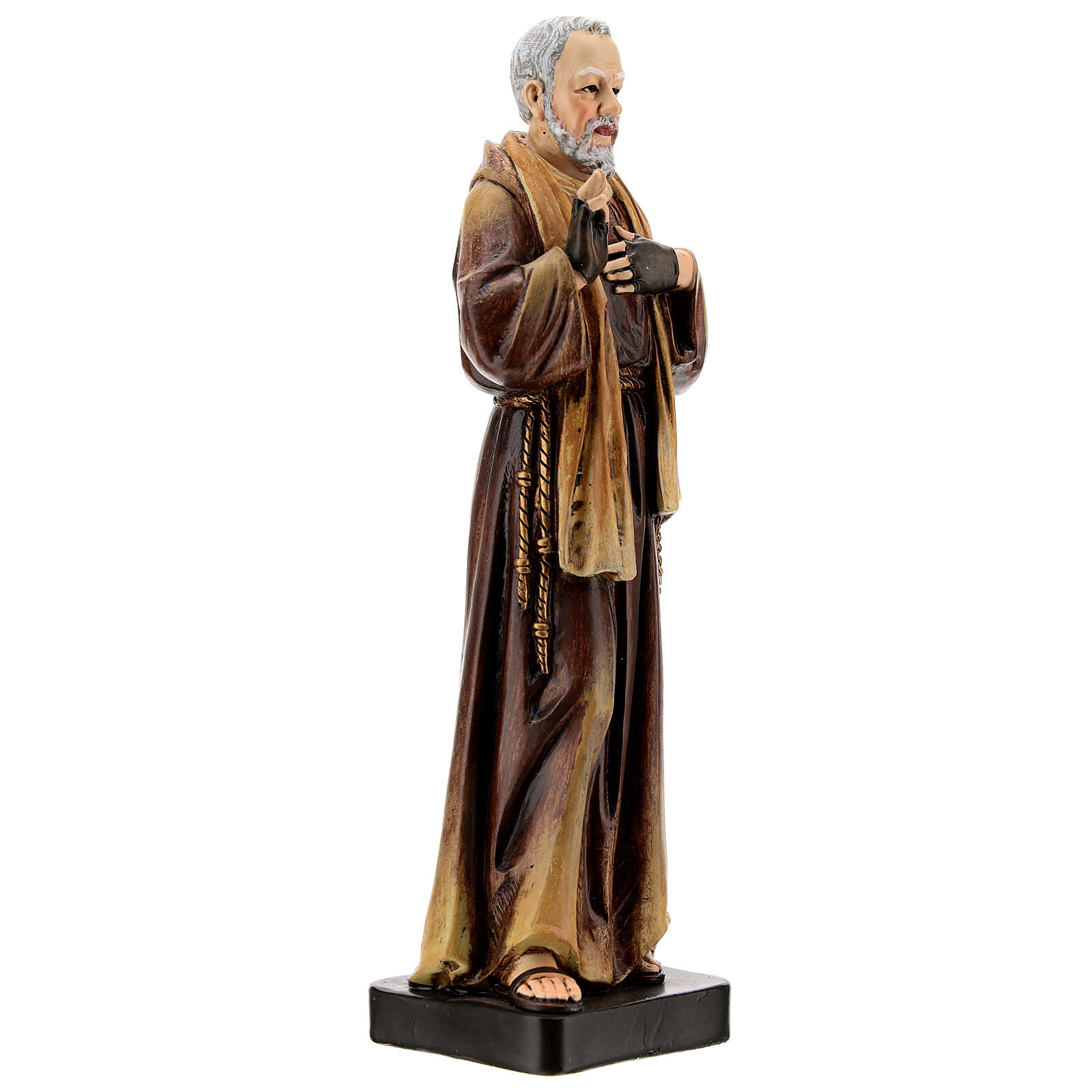 Padre Pio of Pietrelcina statue, in painted wood 20 cm Val Gardena 4