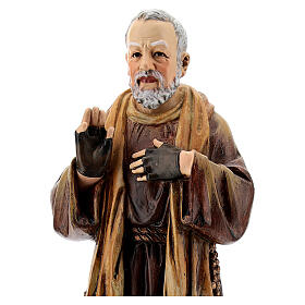 Padre Pio of Pietrelcina statue, in painted wood 20 cm Val Gardena s2