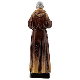 Padre Pio of Pietrelcina statue, in painted wood 20 cm Val Gardena s5