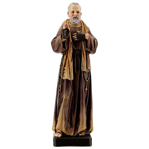 Padre Pio of Pietrelcina statue, in painted wood 20 cm Val Gardena 1