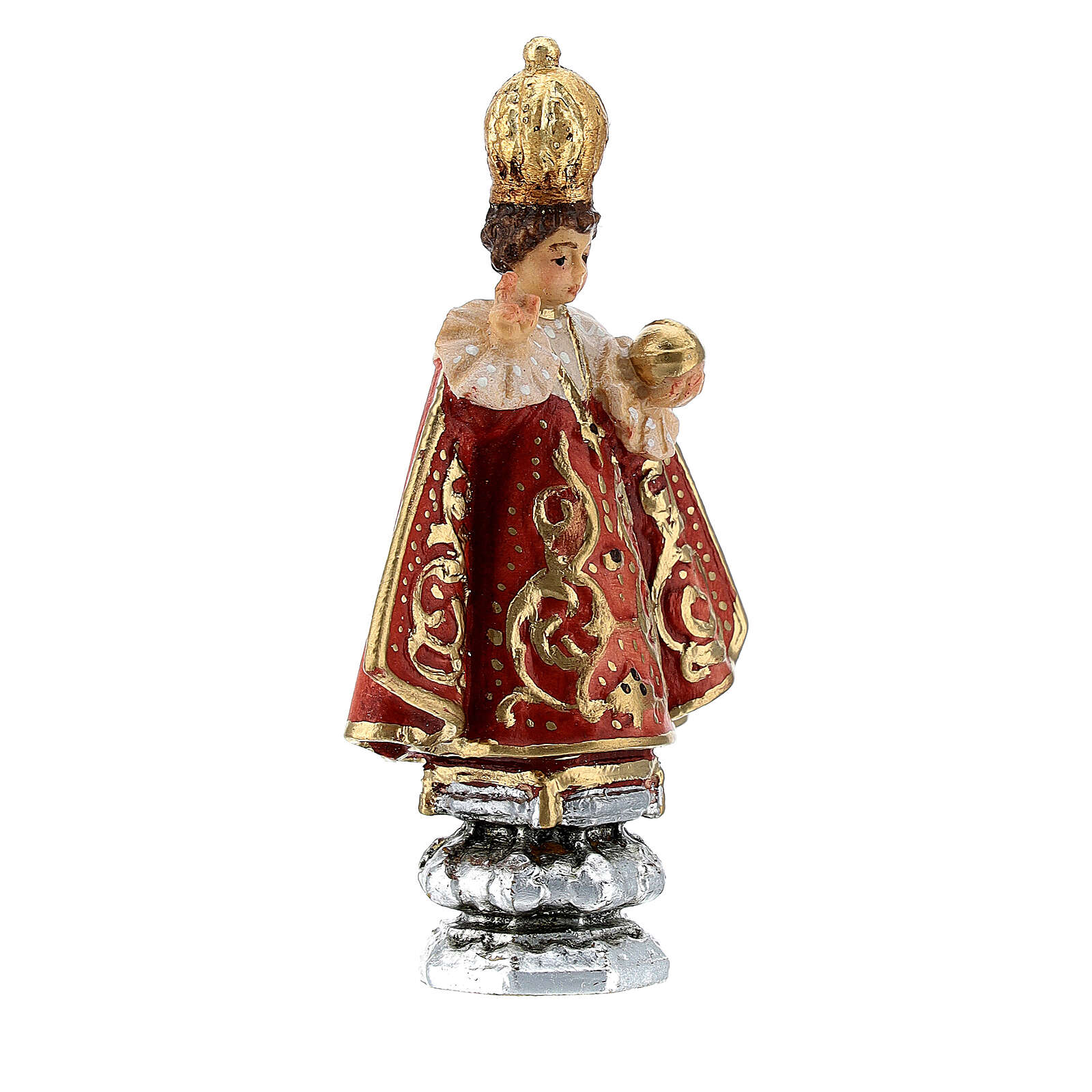 Infant Jesus of Prague statue, painted Valgardena wood, 8 cm 4