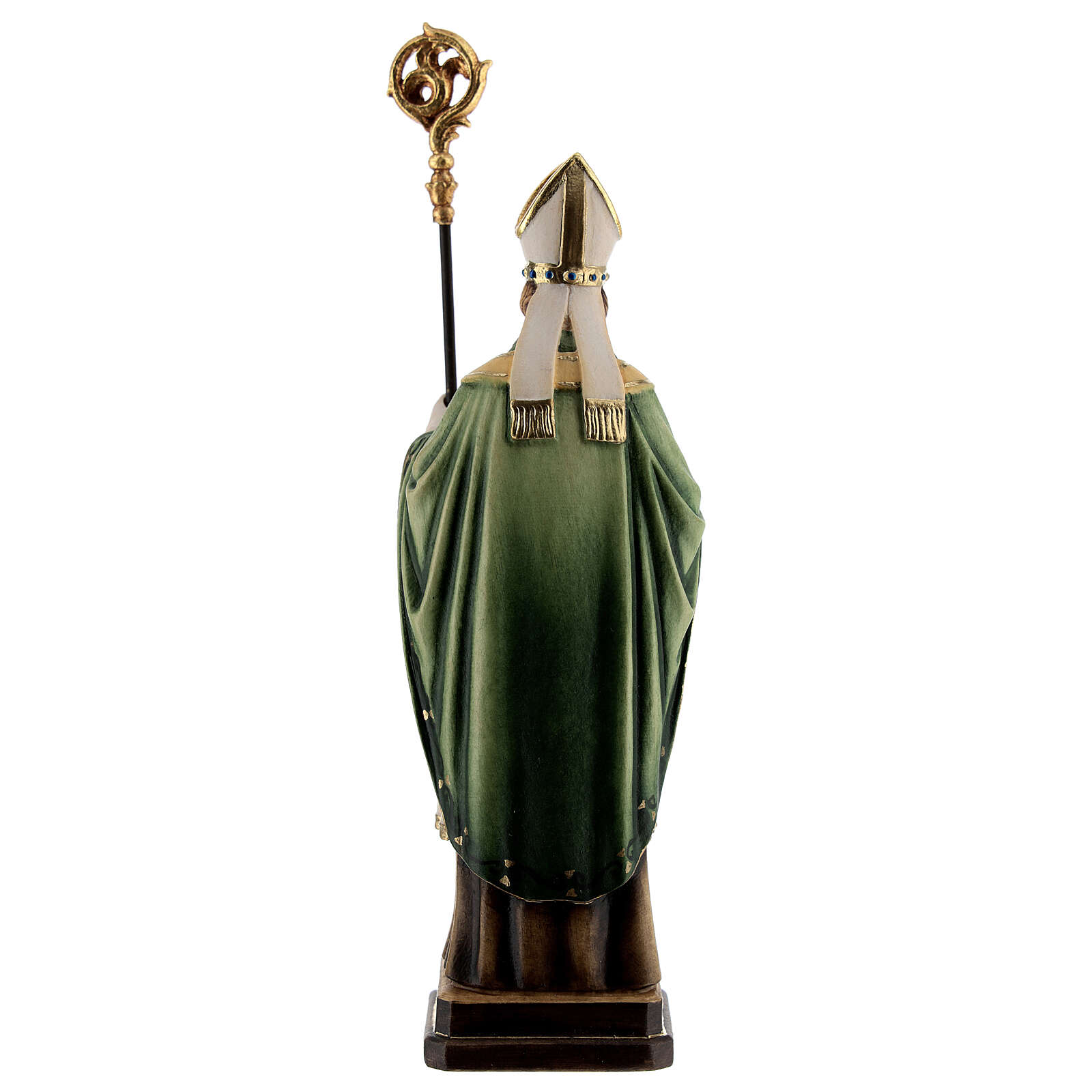 St Patrick statue with crozier, colored Valgardena wood 4