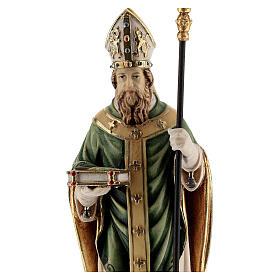 St Patrick statue with crozier, colored Valgardena wood s2