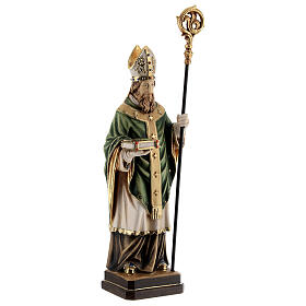 St Patrick statue with crozier, colored Valgardena wood s4
