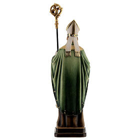 St Patrick statue with crozier, colored Valgardena wood s5