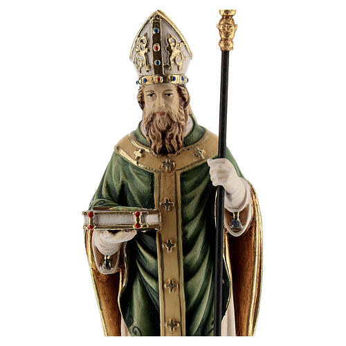 St Patrick statue with crozier, colored Valgardena wood 2