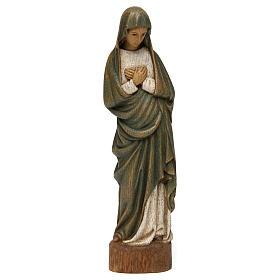 Statues en bois peint: Statue Vierge de l'Annonciation 25 cm bois Bethléem