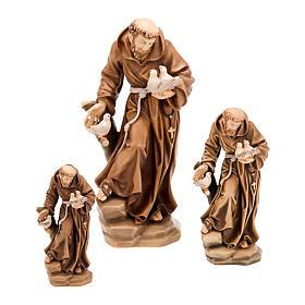 Statues en bois peint: Saint François d'Assise avec colombes, statue bois
