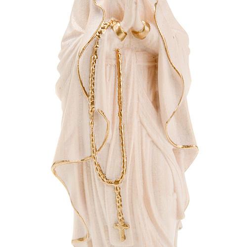 Vierge de Lourdes bois naturel 20cm 3