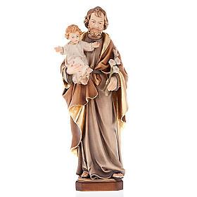 Statues en bois peint: Statue en bois peint, St. Joseph avec enfant et lys