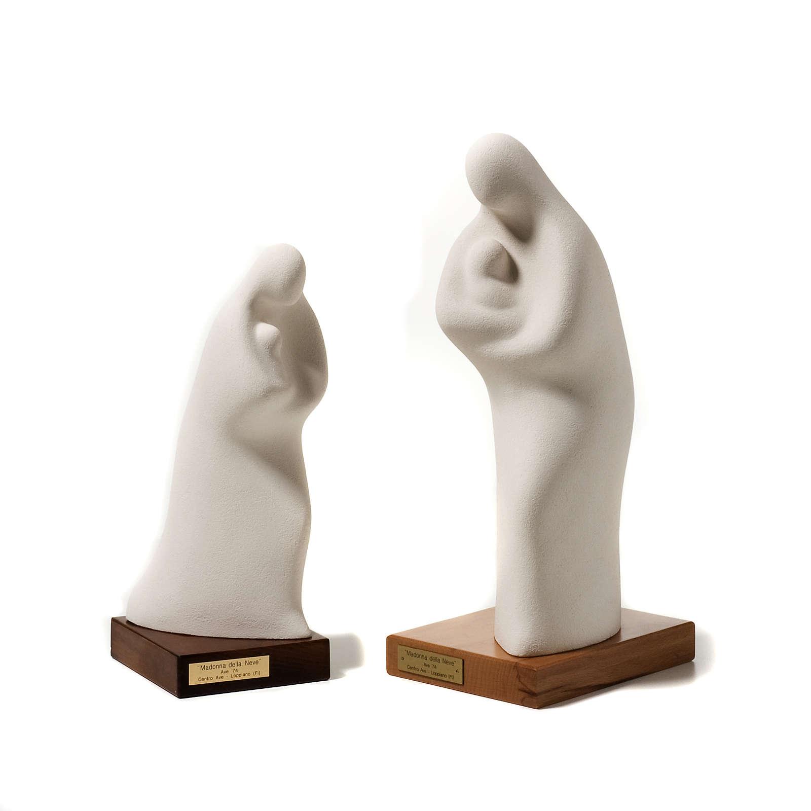 Statua Madonna della neve argilla su base 4