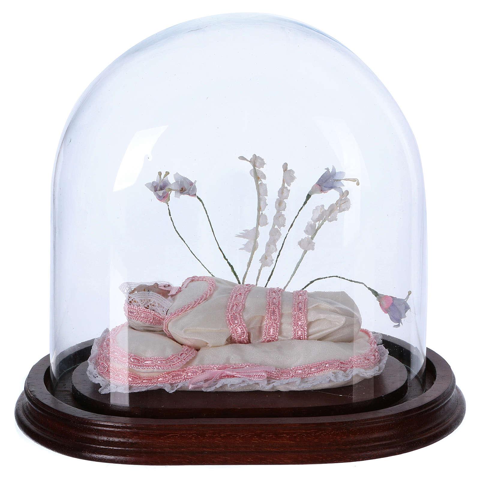 Maria bambina statua terracotta cm 18 in campana vetro 4