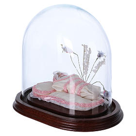 Maria bambina statua terracotta cm 18 in campana vetro s2