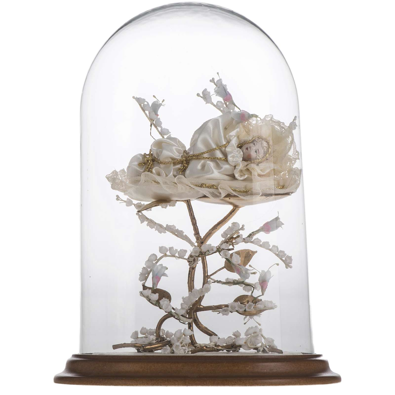 Maria bambina statua terracotta cm 18 campana di vetro 35X25 4