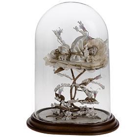 Maria bambina statua terracotta cm 18 campana di vetro 35X25 s1