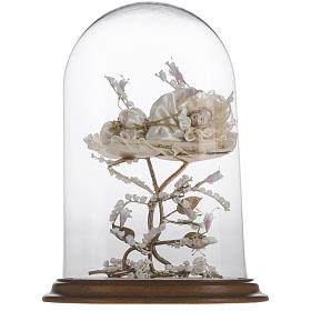 Maria bambina statua terracotta cm 18 campana di vetro 35X25 s2