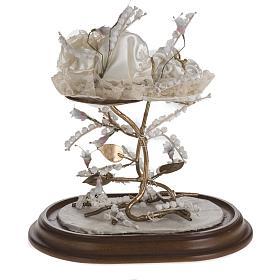 Maria bambina statua terracotta cm 18 campana di vetro 35X25 s6