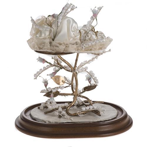 Maria bambina statua terracotta cm 18 campana di vetro 35X25 6