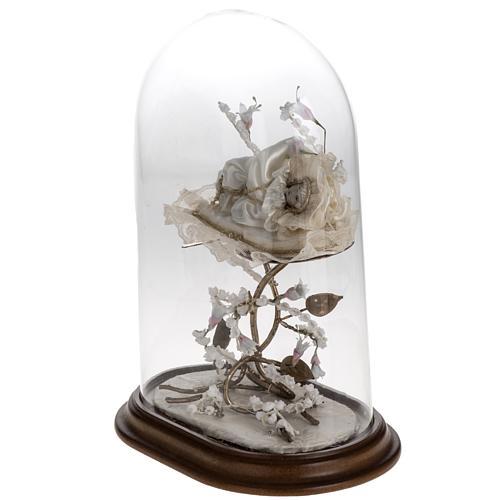 Maria bambina statua terracotta cm 18 campana di vetro 35X25 7