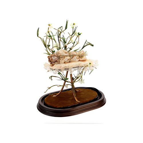 Maria bambina statua terracotta cm 18 campana di vetro 35X25 5
