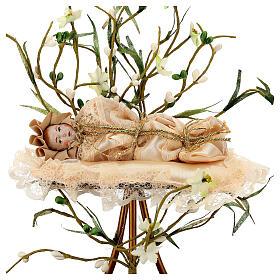 Maria menina estatueta terracota 18 cm redoma em vidro 35x25 s2