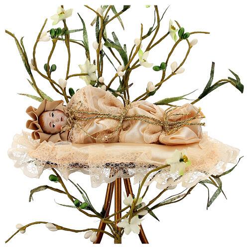Maria menina estatueta terracota 18 cm redoma em vidro 35x25 2