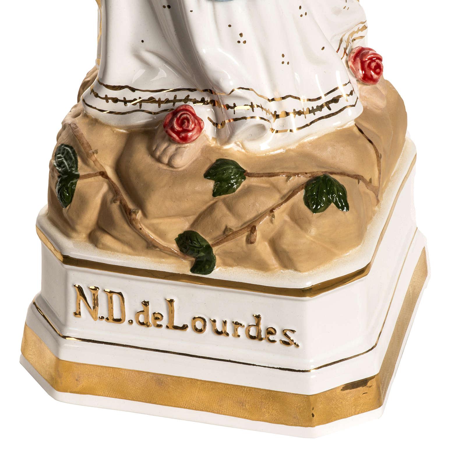 Virgen de Lourdes 50cm cerámica decorada oro 4