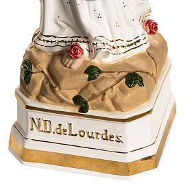 Virgen de Lourdes 50cm cerámica decorada oro s4