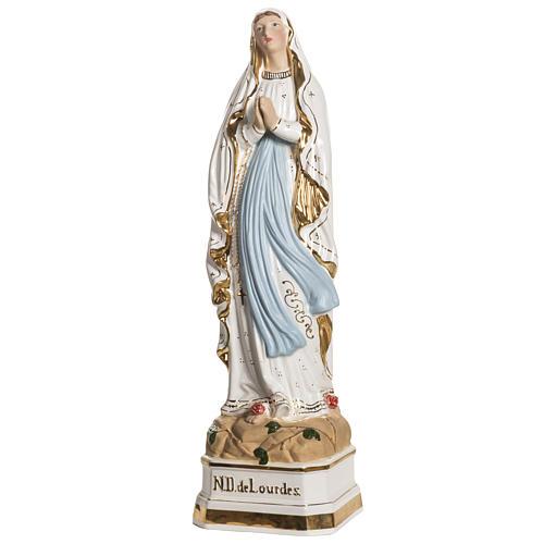 Virgen de Lourdes 50cm cerámica decorada oro 2
