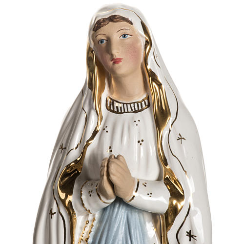 Virgen de Lourdes 50cm cerámica decorada oro 3