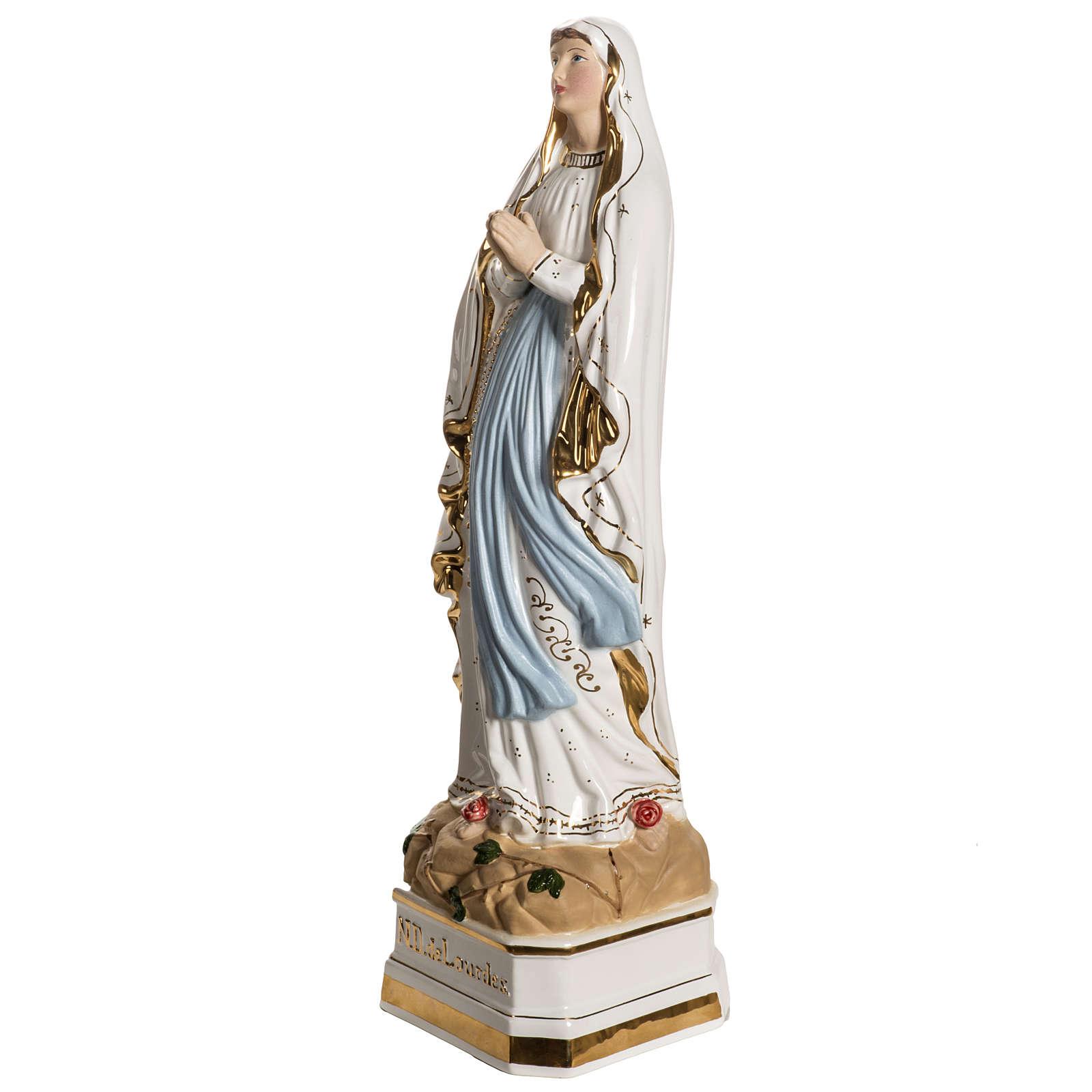 Our Lady of Lourdes ceramic statue with golden decoration, 50 cm 4