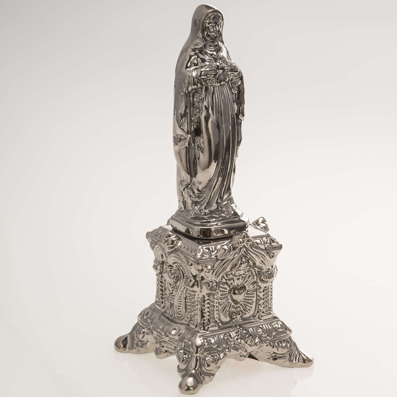 Ceramic statue, platinum colour, Sacred Heart of Mary on throne 4