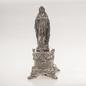 Ceramic statue, platinum colour, Sacred Heart of Mary on throne s1