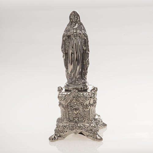 Ceramic statue, platinum colour, Sacred Heart of Mary on throne 1