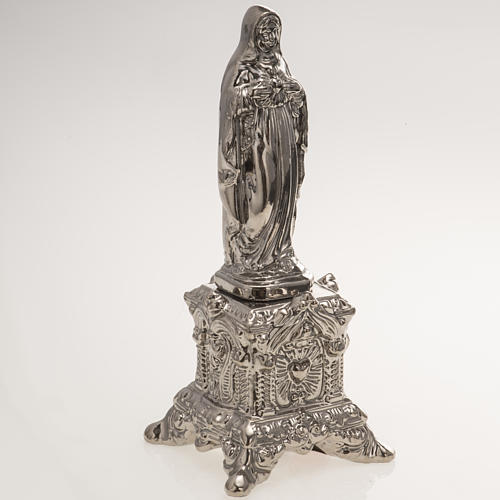 Ceramic statue, platinum colour, Sacred Heart of Mary on throne 2