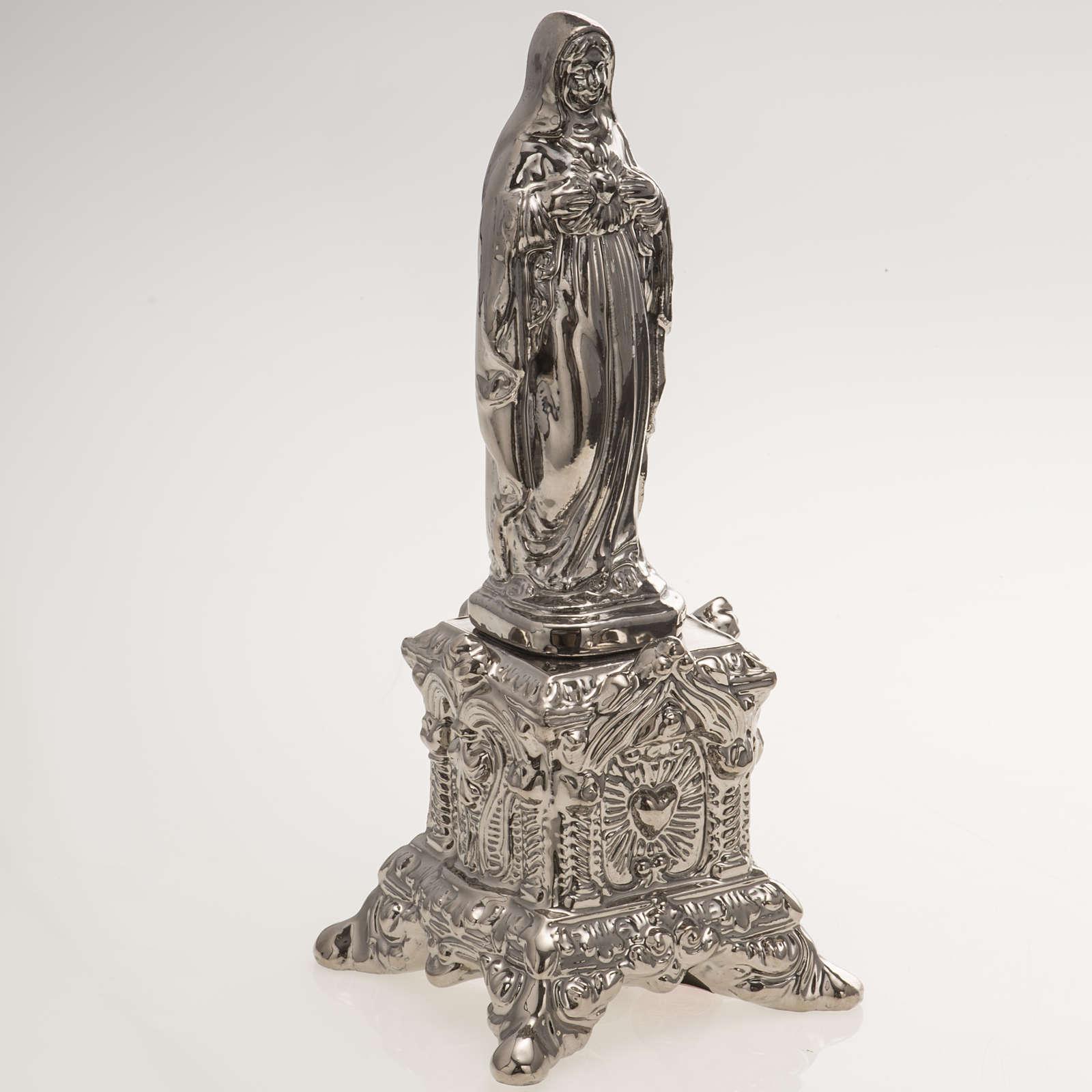 Statua ceramica platino Sacro Cuore Maria su tronetto 4