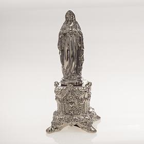 Statua ceramica platino Sacro Cuore Maria su tronetto s1