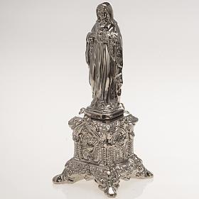 Statua ceramica platino Sacro Cuore Maria su tronetto s3