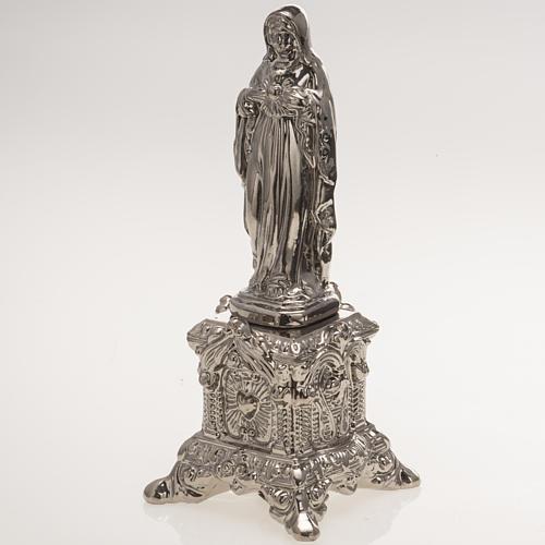 Statua ceramica platino Sacro Cuore Maria su tronetto 3