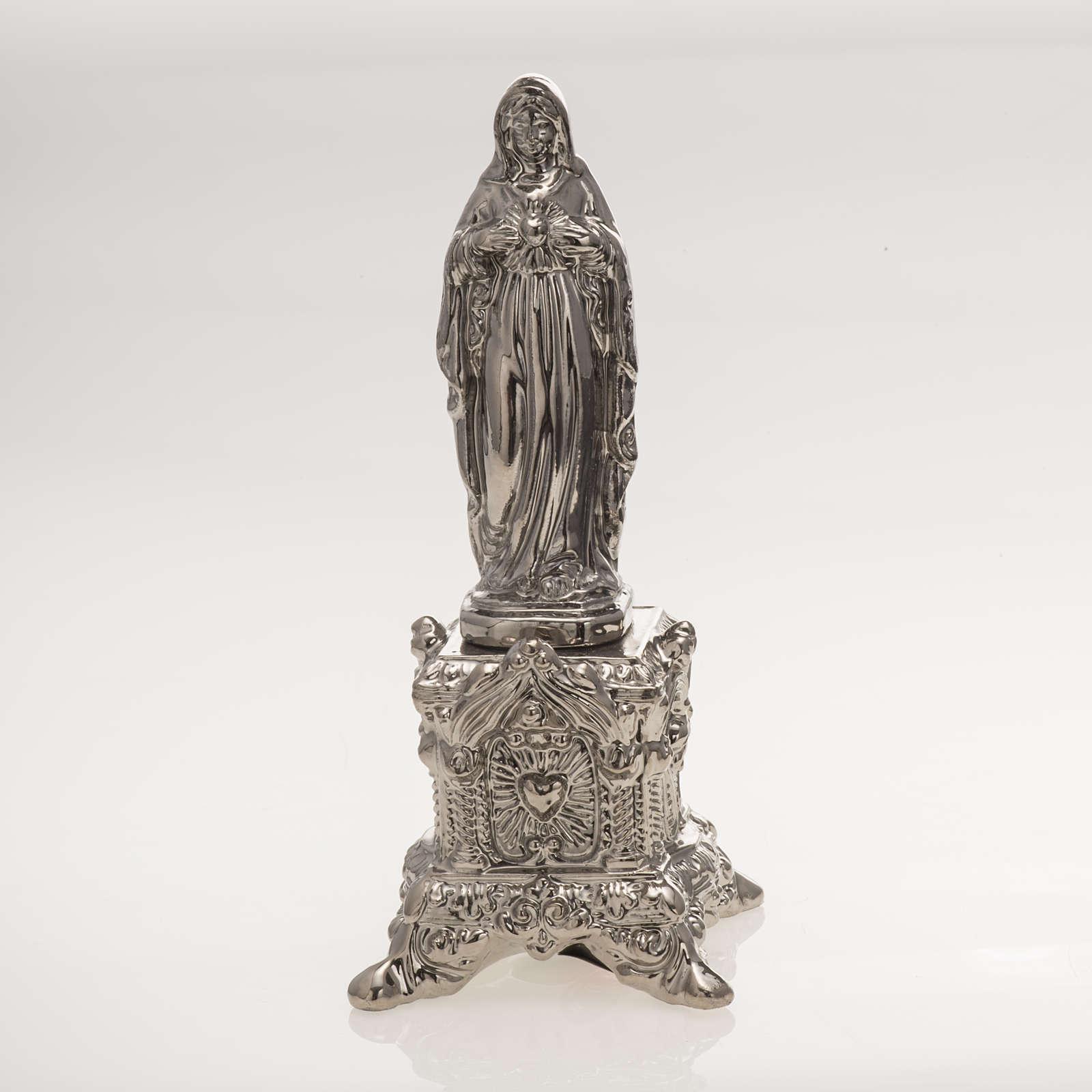 Imagem cerâmica platina Coração Sagrado de Maria com suporte 4