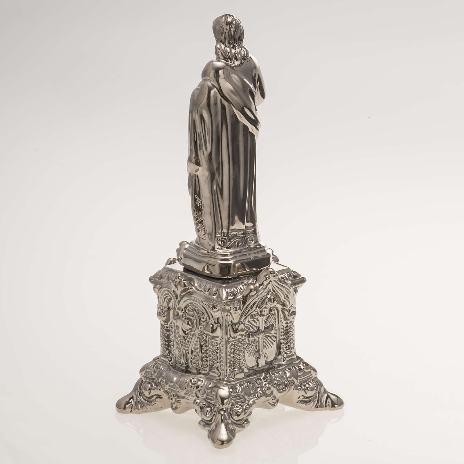 Ceramic statue, platinum colour, Sacred Heart of Jesus on throne 4